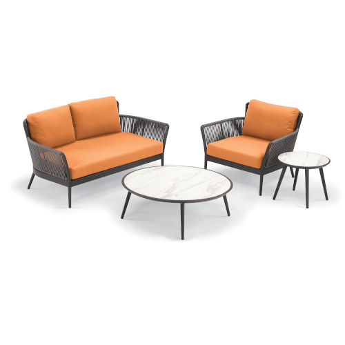 Nette Carbon and Tangerine Patio Loveseat and Table Set, 4-Piece
