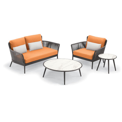 Nette Multicolor Patio Loveseat and Table Set with Cushion, 4-Piece