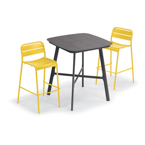 Kapri and Eiland Saffron 36-Inch Square Bar Table with Two Bar Chairs