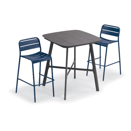 Kapri and Eiland Prussian 36-Inch Square Bar Table with Two Bar Chairs