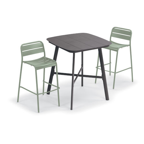 Kapri and Eiland Sage 36-Inch Square Bar Table with Two Bar Chairs