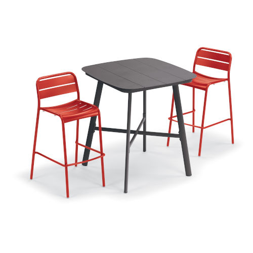 Kapri and Eiland Venitian 36-Inch Square Bar Table with Two Bar Chairs