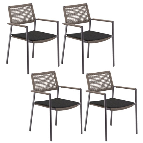 Eiland Composite Cord Mocha and Carbon Armchair with Pepper Cushions - Set of 4