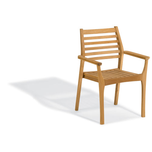 Mera Natural Patio Stacking Arm Chair, Set of 2