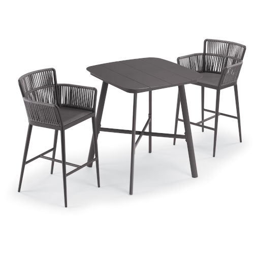 Nette Woven Strap Pewter Ninja Seat and Carbon Powder Coated Aluminum Frame Bar Chair
