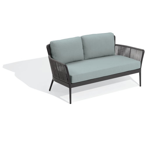 Nette Carbon and Seafoam Outdoor Loveseat