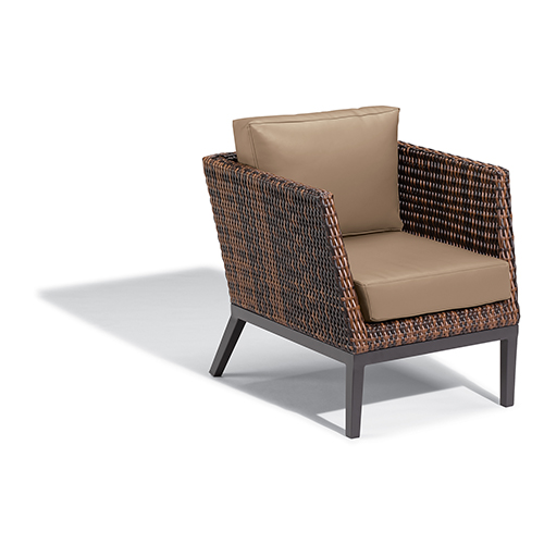 Salino Resin Wicker Sable Woven Club Chair with Truffle Nauticau Cushions