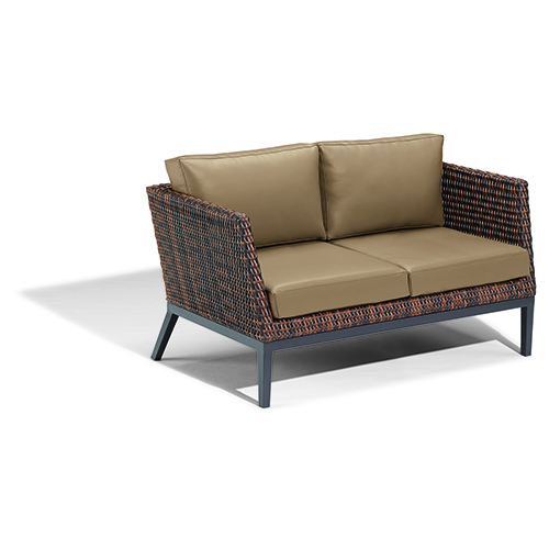 Salino Resin Wicker Sable Woven Loveseat with Toast Cushions