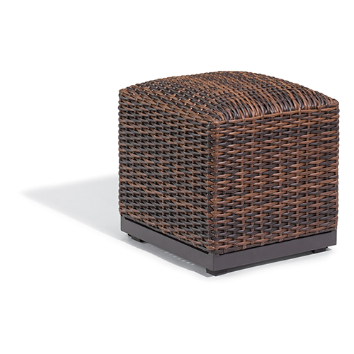 Salino Resin Wicker Sable Woven Ottoman Pouf