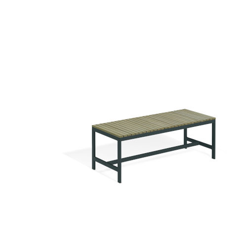 Travira Vintage Tekwood Seat and Carbon Powder Coated Aluminum Frame Backless Bench
