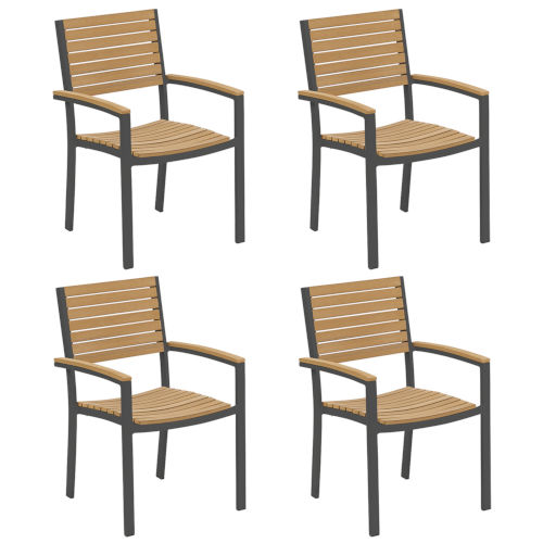 Travira Natural Tekwood Seat and Carbon Powder Coated Aluminum Frame Armchair , Set of Four