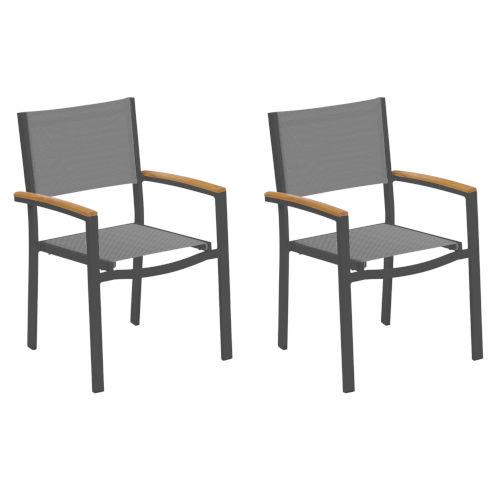 Travira Titanium Sling Natural Tekwood Armcaps and Carbon Powder Coated Aluminum Frame Armchair , Set of Two