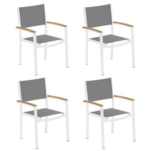 Travira Titanium Sling Natural Tekwood Armcaps and Chalk Powder Coated Aluminum Frame Armchair , Set of Four
