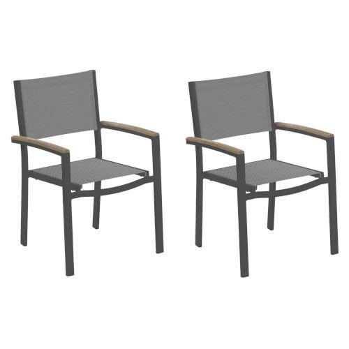 Travira Titanium Sling Vintage Tekwood Armcaps and Carbon Powder Coated Aluminum Frame Armchair , Set of Two