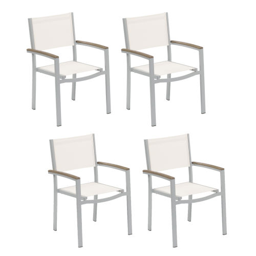 Travira Natural Sling Armchair with Vintage Tekwood Armcaps, Set of Four
