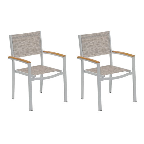Travira Sling Armchair - Powder Coated Aluminum Frame - Bellows - Tekwood Natural Armcaps - Set of 2