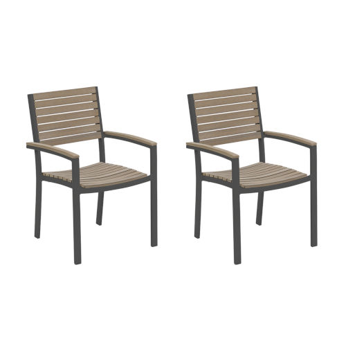 Travira Vintage Tekwood Seat and Carbon Powder Coated Aluminum Frame Armchair , Set of Two