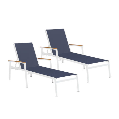 Travira Ink Pen Sling Natural Tekwood Armcaps and Chalk Powder Coated Aluminum Frame Chaise Lounge , Set of Two
