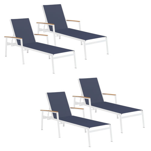 Travira Ink Pen Sling Armcaps and Coated Aluminum Frame Chaise Lounge