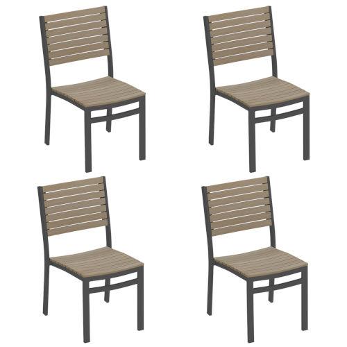 Travira Vintage Tekwood Seat and Chalk Powder Coated Aluminum Frame Side Chair , Set of Four