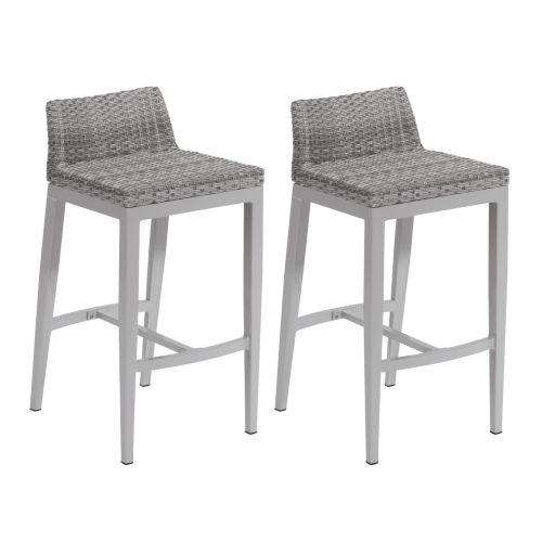 Argento Bar Stool - Argento Resin Wicker - Powder Coated Aluminum Legs - Set of 2