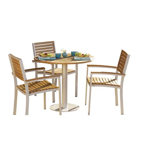 Travira Natural Teakwood 8-Piece Bistro Set with 36-Inch Table