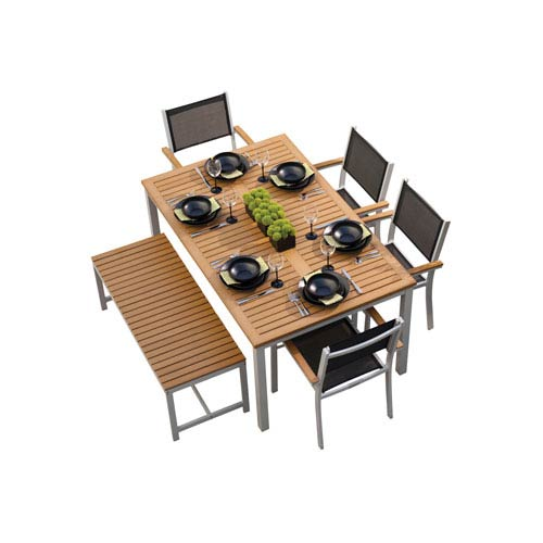 Travira Natural Teakwood 6-Piece Dining Set
