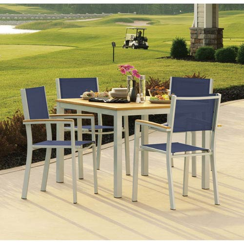 Travira Natural Tekwood 5 Piece Dining Set with Ink Pen Sling Seats