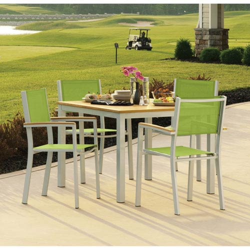 Travira Natural Tekwood 5 Piece Dining Set with Go Green Sling Seats