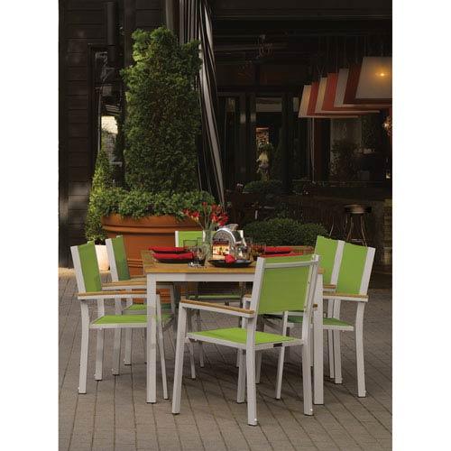 Travira Natural Tekwood 7 Piece Dining Set with Go Green Sling Seats
