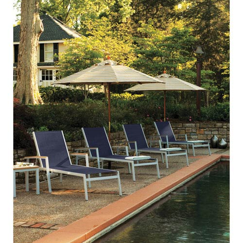 Travira Ink Pen Sling 8 Piece Chaise Lounge Set with Natural Tekwood