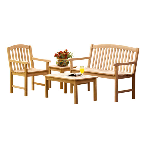 Chadwick - 4-Piece Chat Set - Natural Shorea - Dupione Papaya