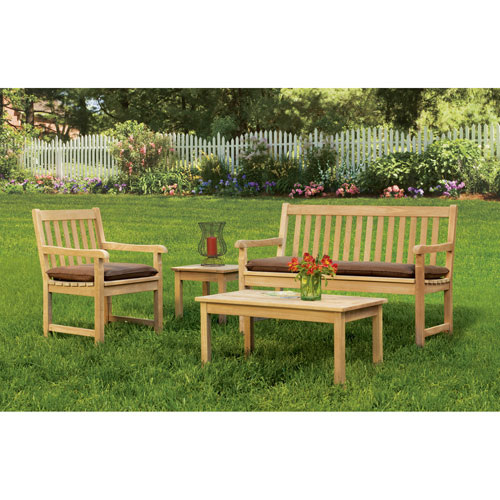 Oxford Garden Classic - 4-Piece Chat Set - Natural Shorea - Dupione Walnut