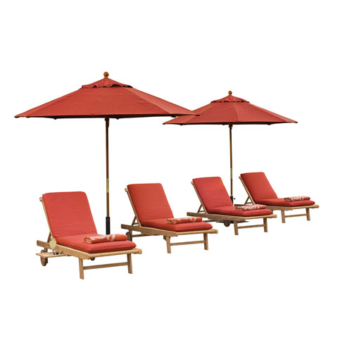 Oxford Garden Oxford Chaise Lounge - 4-Piece Lounge and Cushion Set - Natural Shorea - Dupione Papaya