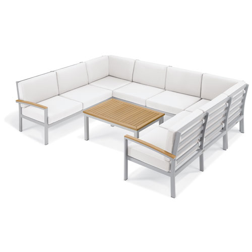 Travira - 7-Piece Loveseat and Table Chat Set - Eggshell White Cushion - Natural Tekwood