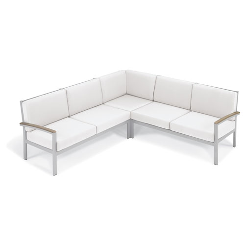 Travira - 3-Piece Loveseat Chat Set - Eggshell White Cushion - Vintage Tekwood
