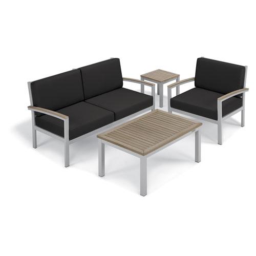 Oxford Garden Travira - 4-Piece Seat and Table Chat Set - Jet Black Cushion - Vintage Tekwood