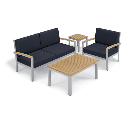 Oxford Garden Travira - 4-Piece Seat and Table Chat Set - Midnight Blue Cushion - Natural Tekwood