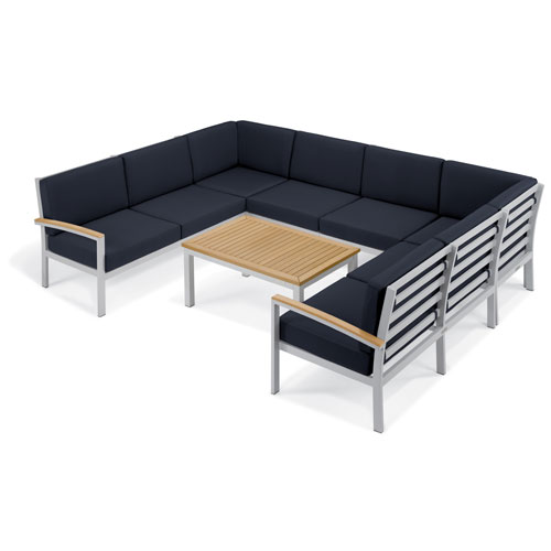 Travira - 7-Piece Loveseat and Table Chat Set - Midnight Blue Cushion - Natural Tekwood