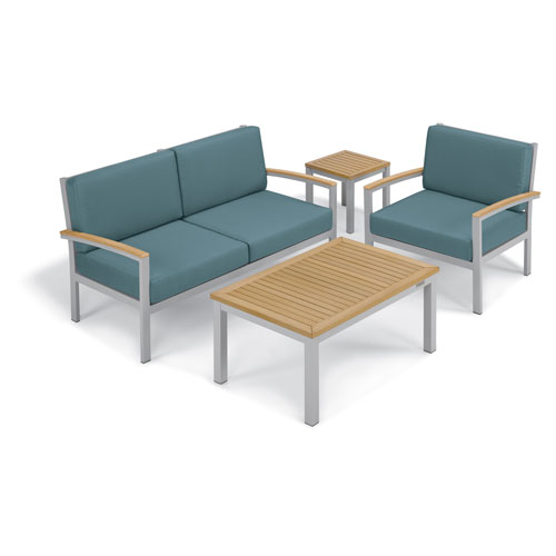 Oxford Garden Travira - 4-Piece Seat and Table Chat Set - Ice Blue Cushion - Natural Tekwood