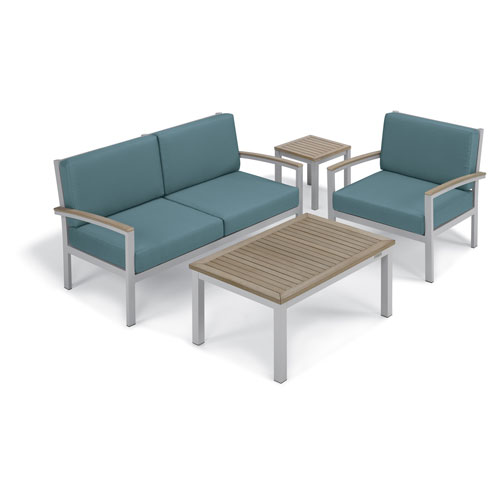 Travira - 4-Piece Seat and Table Chat Set - Ice Blue Cushion - Vintage Tekwood
