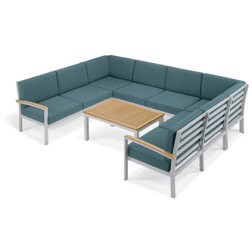 Oxford Garden Travira - 7-Piece Loveseat and Table Chat Set - Ice Blue Cushion - Natural Tekwood