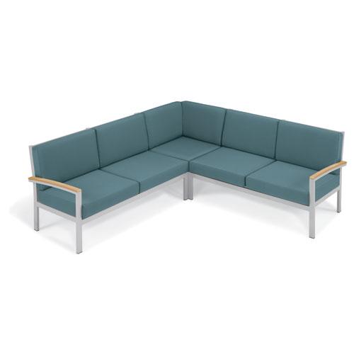 Travira - 3-Piece Loveseat Chat Set - Ice Blue Cushion - Natural Tekwood