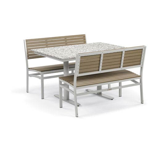 Travira - 3-Piece Bistro Set with 34 x 48 In. Table - Powder Coated Steel - Lite-Core Ash - Tekwood Vintage