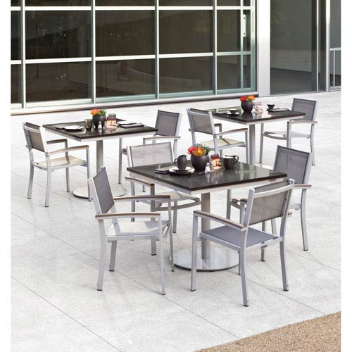 Travira - 5-Piece Bistro Set with 36-inch Square Table and Sling Chairs - Powder Coated Aluminum - Lite-Core Charcoal -