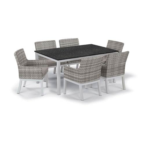 Travira - 7-Piece Dining Set with 63 In. x 40 In. Table - Powder Coated Aluminum - Argento Wicker - Lite-Core Charcoal -