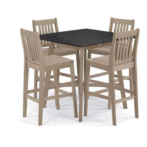 Oxford Garden Wexford - 5-Piece Dining Set with 42 In. Bar Table - Grigio Shorea - Lite-Core Charcoal
