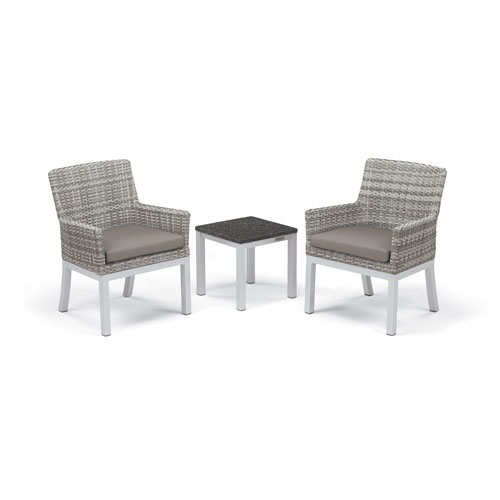 Travira - 3-Piece Conversation Set with End Table - Powder Coated Aluminum - Lite-Core Charcoal - Argento Wicker - Stone