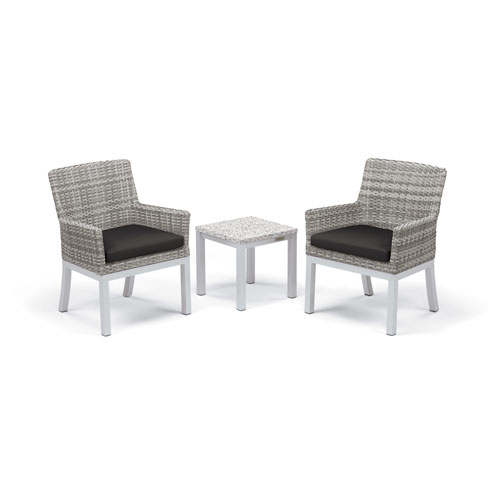 Travira - 3-Piece Conversation Set with End Table - Powder Coated Aluminum - Lite-Core Ash - Argento Wicker - Jet Black