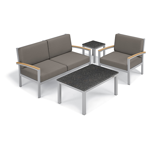 Travira Stone Grey 4-Piece Seat and Table Chat Set